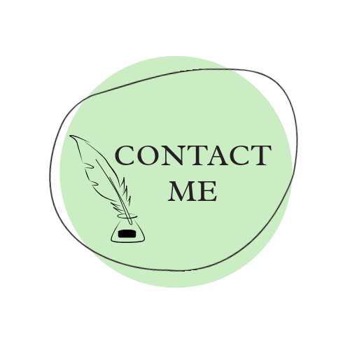 """Green button with a feather quill that says """"Contact Me"""""""