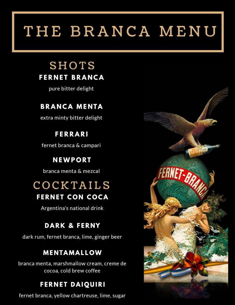 fernet branca cocktail menu with branca logo black drink menu